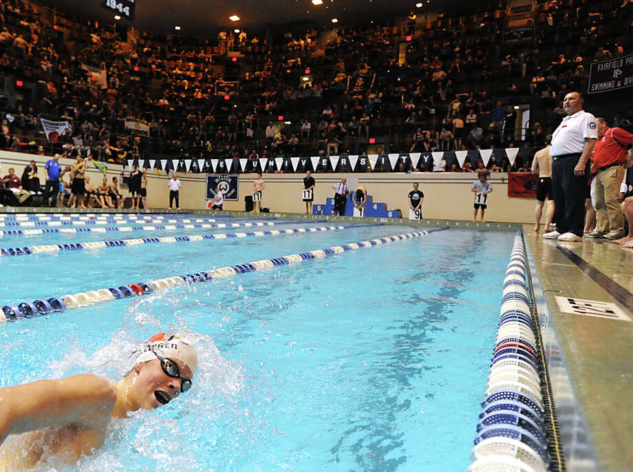 Thomas Dillinger of Greenwich competes in the 500 yard freestyle event during the State Open swimming championships at Yale University, New Haven, Conn., Saturday, March 16, 2013. Photo: Bob Luckey / Greenwich Time