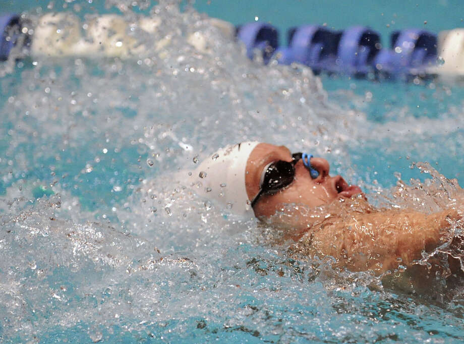 Alex Lewis of Greenwich does the backstroke during the 200 medley relay during the State Open swimming championships at Yale University, New Haven, Conn., Saturday, March 16, 2013. Photo: Bob Luckey / Greenwich Time