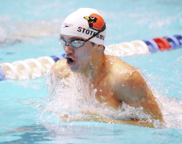 Andrew Stotesbery of Greenwich competes in the 200 IM event during the State Open swimming championships at Yale University, New Haven, Conn., Saturday, March 16, 2013. Photo: Bob Luckey / Greenwich Time