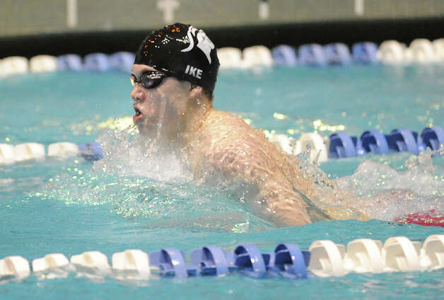 Oscar Ike of Westhill/Stamford Combined competes in the 200 IM event during the State Open swimming championships at Yale University, New Haven, Conn., Saturday, March 16, 2013. Photo: Bob Luckey / Greenwich Time