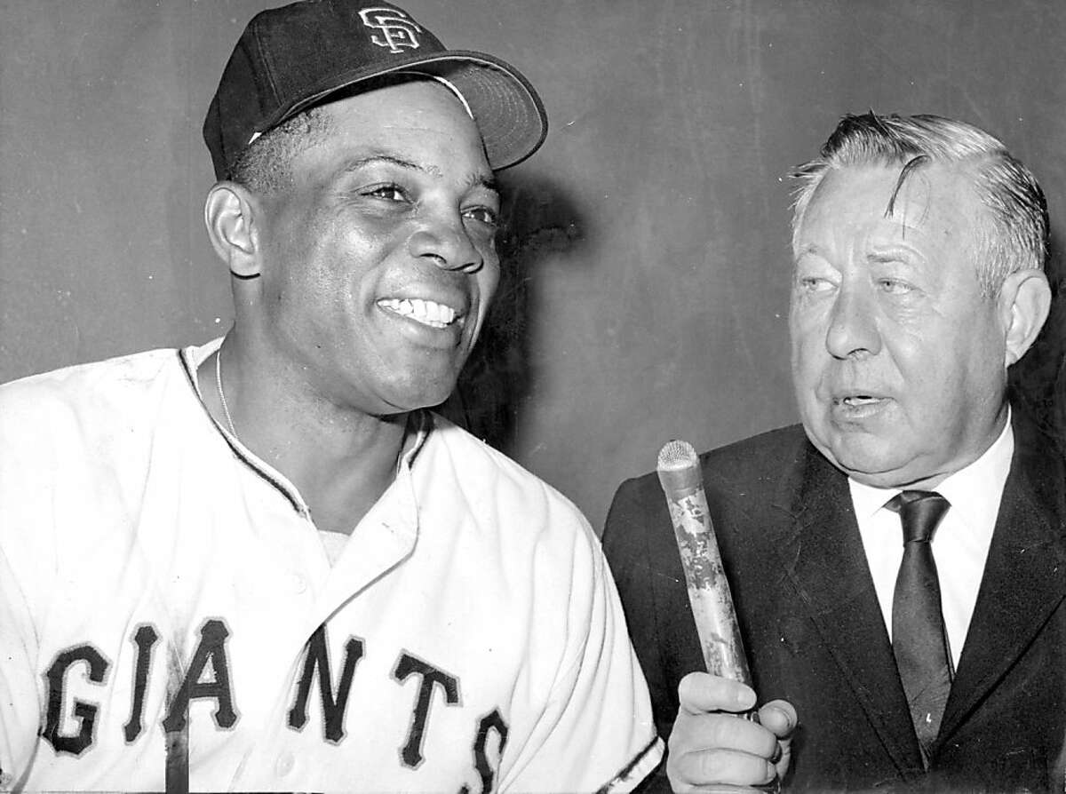 Russ Hodges interviews Willie Mays after the Giants outfielder hit home run No. 534.