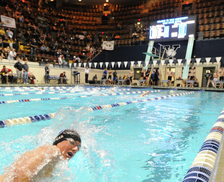 Zac Pear of Darien competes in the 500 yard freestyle event during the State Open swimming championships at Yale University, New Haven, Conn., Saturday, March 16, 2013. Photo: Bob Luckey / Greenwich Time