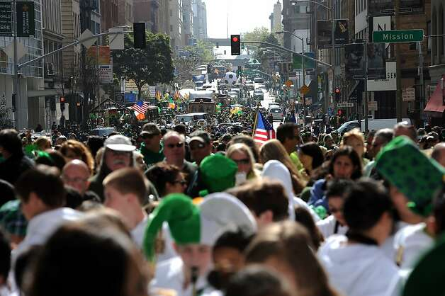 Paraders line up in 2nd St. as they wait for the start of the annual St. Patrick's Day Parade in San Francisco, Saturday March 16th, 2013. Photo: Michael Short, Special To The Chronicle