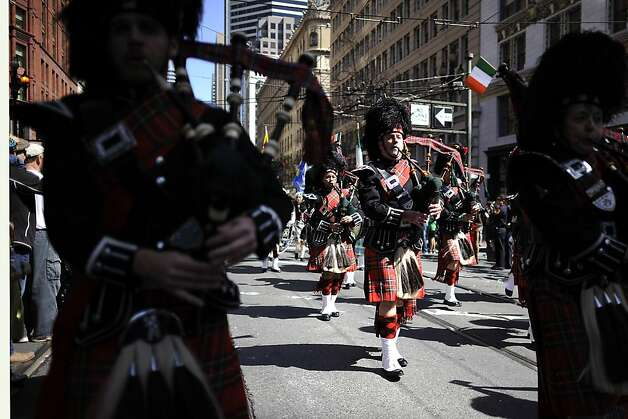 Pipers from Local 39 International Union Of Operating Engineers march during the annual St. Patrick's Day Parade in San Francisco, Saturday March 16th, 2013. Photo: Michael Short, Special To The Chronicle