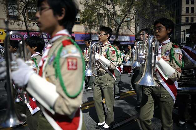 Musicians with the Boy Scouts Troop 12 Band make their way down Market. St. during  the annual St. Patrick's Day Parade in San Francisco, Saturday March 16th, 2013. Photo: Michael Short, Special To The Chronicle