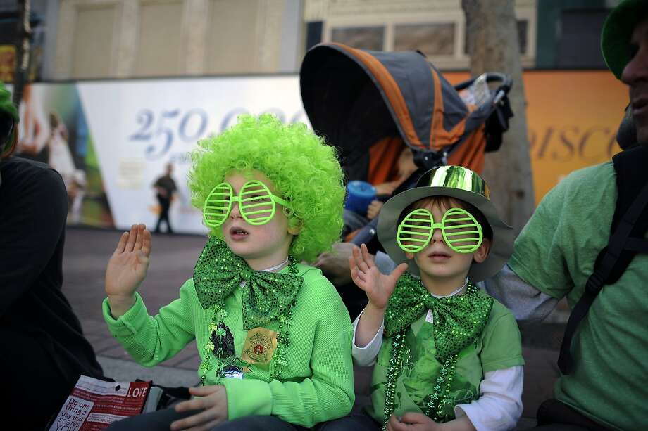 Alister Jackson, 6, and his brother Braylen Jackson, 3, of Redwood City, got pretty dressed up to watch the annual St. Patrick's Day Parade in San Francisco, Saturday March 16th, 2013. Photo: Michael Short, Special To The Chronicle
