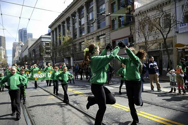Members of the Healy Irish Dancers dance their way down Market St. during the annual St. Patrick's Day Parade in San Francisco, Saturday March 16th, 2013. Photo: Michael Short, Special To The Chronicle