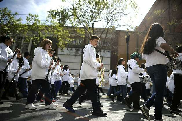 Children marching with the Catholic Schools Marching Band are seen during the annual St. Patrick's Day Parade in San Francisco, Saturday March 16th, 2013. Photo: Michael Short, Special To The Chronicle