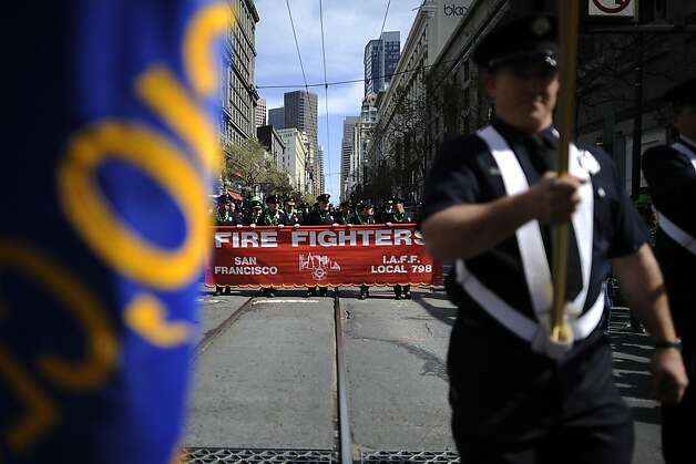 San Francisco Fire Fighters are seen marching during the annual St. Patrick's Day Parade in San Francisco, Saturday March 16th, 2013. Photo: Michael Short, Special To The Chronicle