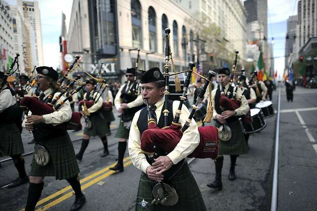 Pipers from the Irish Pipers of San Francisco play during the annual St. Patrick's Day Parade in San Francisco, Saturday March 16th, 2013. Photo: Michael Short, Special To The Chronicle