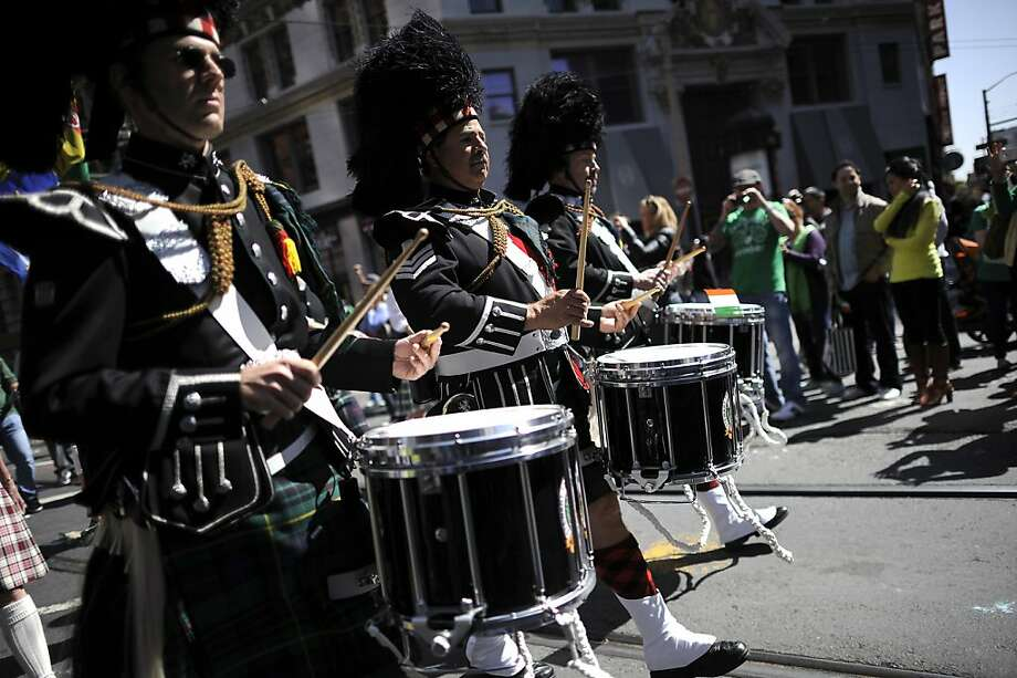 Drummers from Local 39 International Union Of Operating Engineers march during the annual St. Patrick's Day Parade in San Francisco, Saturday March 16th, 2013. Photo: Michael Short, Special To The Chronicle