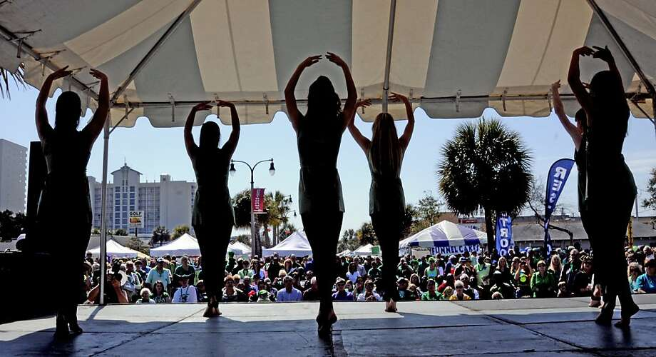 Dancers from Arts Alive entertain the crowd on the Hillside Stage during the 25th annual North Myrtle Beach St. Patrick's Day Parade and celebration, Saturday, March 16, 2013. (AP Photo/The Sun News, Charles Slate) Photo: Charles Slate, Associated Press