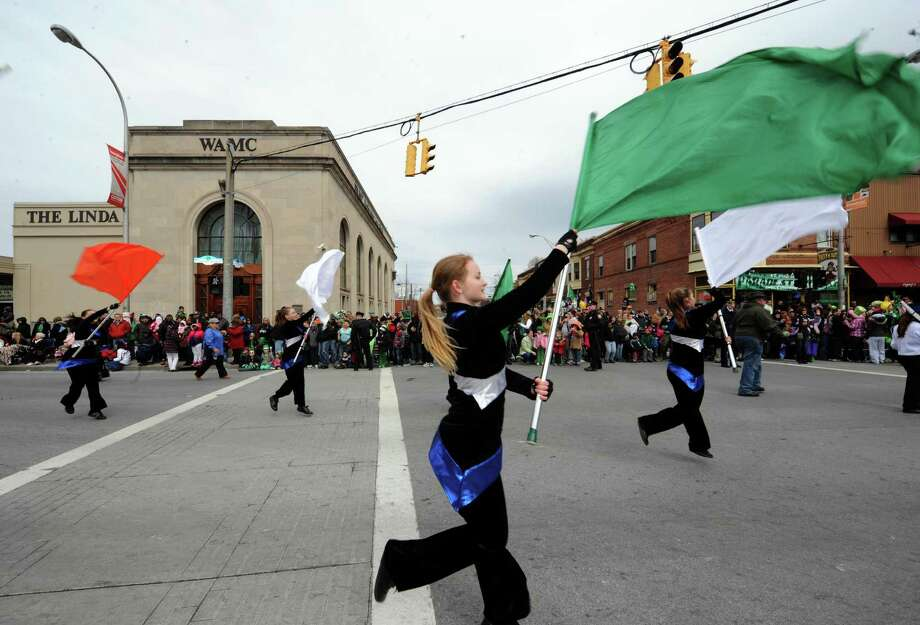 The Albany Marching Falcons participate in the Albany St. Patrick's Day Parade on Saturday March 16, 2013 in Albany, N.Y. (Michael P. Farrell/Times Union) Photo: Michael P. Farrell