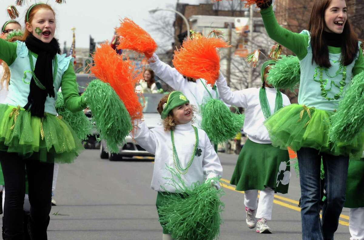 Allisin Masline, center, marches with the Menands Pom Poms during the Albany St. Patrick's Day Parade on Saturday March 16, 2013 in Albany, N.Y. (Michael P. Farrell/Times Union)