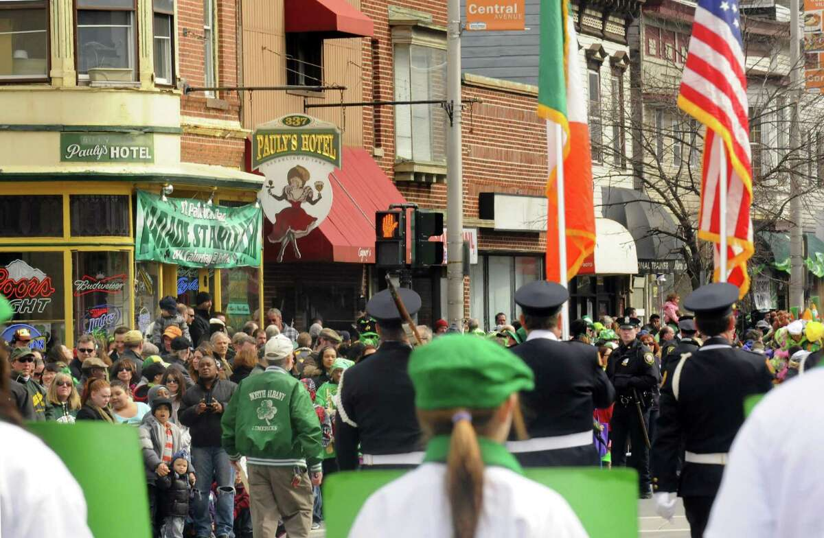 A crowd watches from the corner of Central Ave and Quail Street during the Albany St. Patrick's Day Parade on Saturday March 16, 2013 in Albany, N.Y. (Michael P. Farrell/Times Union)