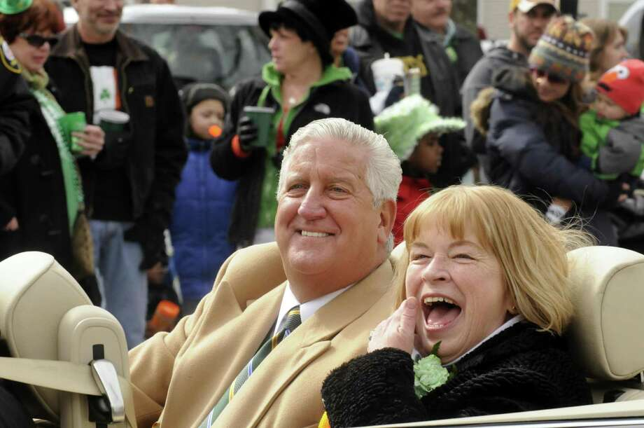 Albany Mayor Jerry Jennings rides along with 2013 Parade Grand Marshal Cecilia Leonard during the Albany St. Patrick's Day Parade on Saturday March 16, 2013 in Albany, N.Y. (Michael P. Farrell/Times Union) Photo: Michael P. Farrell