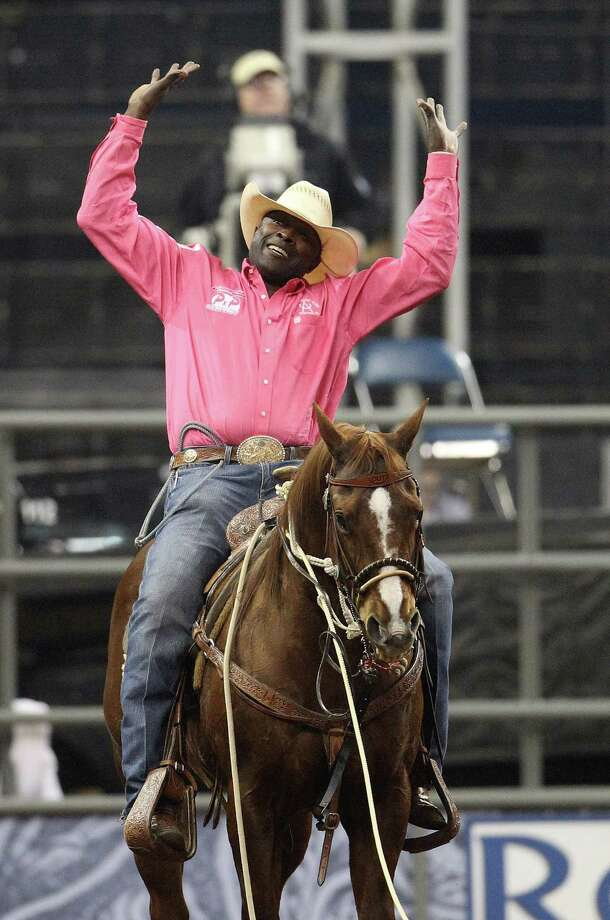 Fred Whitfield of Hockley celebrates his championship win during the final BP Super Series Championship  at the Houston Livestock Show and Rodeo Saturday, March 16, 2013, in Houston. Photo: Karen Warren, Houston Chronicle / © 2013 Houston Chronicle