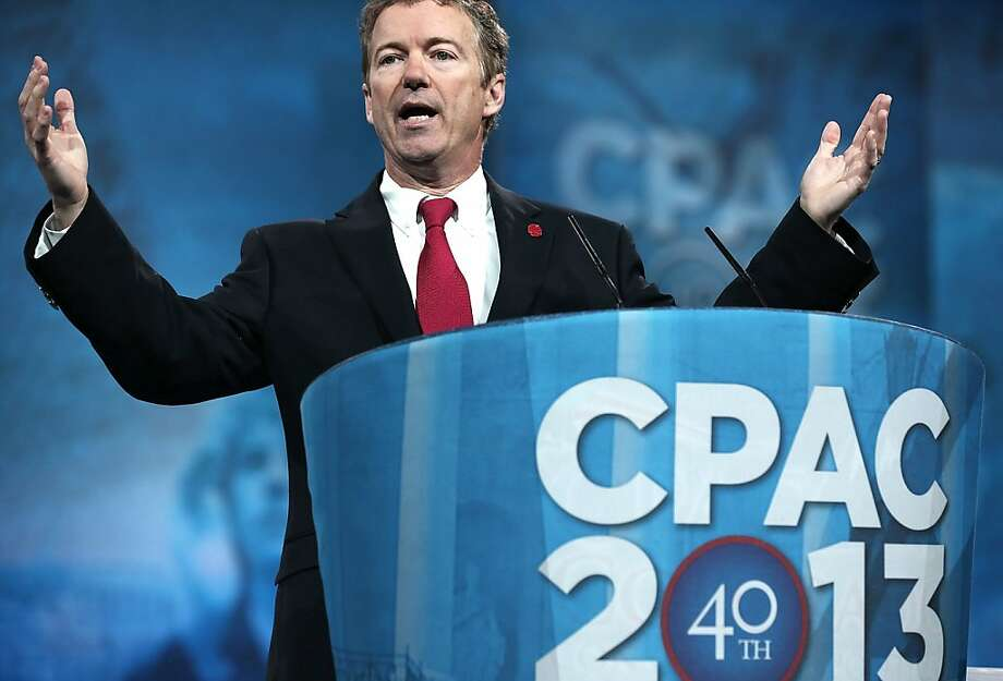 Sen. Rand Paul, R-Ky., narrowly won a presidential preference straw poll at the Republican summit in suburban Washington. Photo: Alex Wong, Getty Images