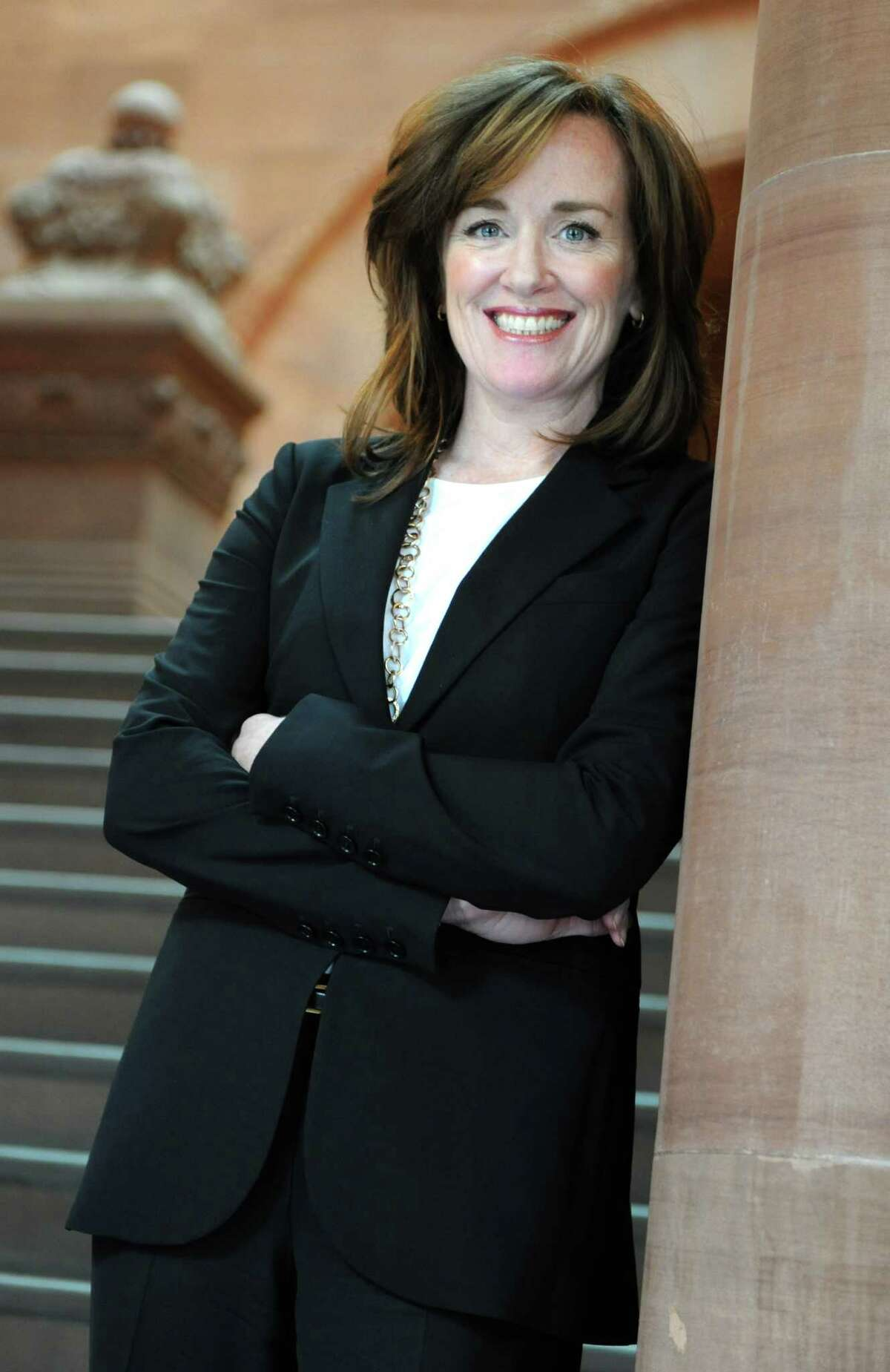 Nassau County District Attorney Kathleen Rice stands on the stairs inside the Capitol on Wednesday March 6, 2013 in Albany, N.Y. Rice is leading efforts to change the way New York schools report incidents of violence and bullying. Schools self-report their violence incidents and few are reporting any incidents at all. (Lori Van Buren / Times Union)
