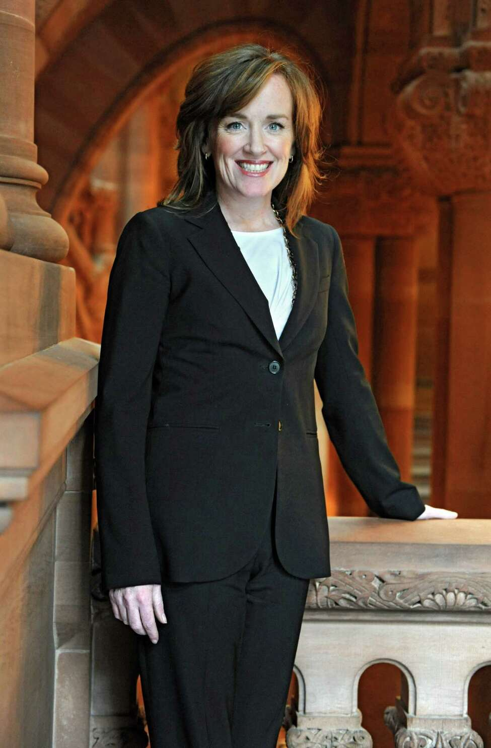Nassau County District Attorney Kathleen Rice stands near the stairs inside the Capitol on Wednesday March 6, 2013 in Albany, N.Y. Rice is leading efforts to change the way New York schools report incidents of violence and bullying. Schools self-report their violence incidents and few are reporting any incidents at all. (Lori Van Buren / Times Union)