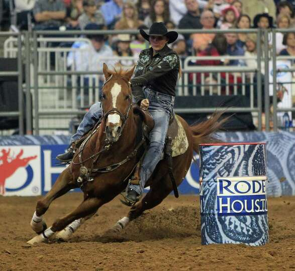Nancy Hunter on her championship Barrel race ride during the final BP Super Series Championship at t