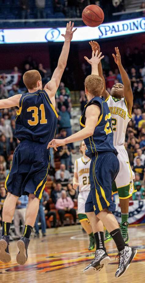 Trinity Catholic High School against Woodstock Academy in the CIAC class L boys basketball championship game at Mohegan Sun Arena in Uncasville, Conn. on Saturday, March 16, 2013. Photo: Mark Conrad / Connecticut Post Freelance