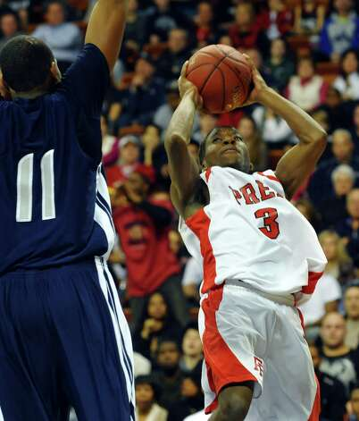 Fairfield Prep's #3 Keith Pettway looks for two points, during Class LL boys basketball final action against Hillhouse in Uncasville, Conn. on Saturday March 16, 2013. Photo: Christian Abraham / Connecticut Post