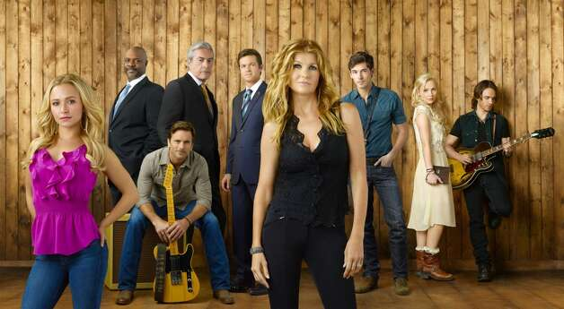 Connie Britton now plays a country music singer in the show ''Nashville,'' with co-star Hayden Panettiere (left, in purple).