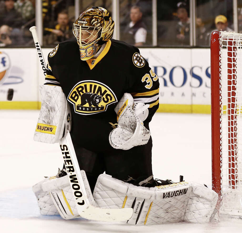 Boston Bruins goalie Anton Khudobin, of Russia, makes a save against the Washington Capitals during the third period of Boston's 4-1 win in an NHL hockey game in Boston, Saturday, March 16, 2013. (AP Photo/Winslow Townson) Photo: Winslow Townson