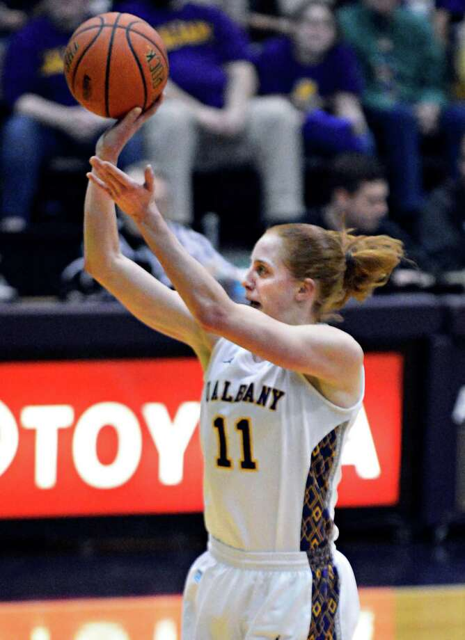 UAlbany's #11 Julie Foster shoots from outside during their America East championship game against Hartford at Albany Saturday March 16, 2013.  (John Carl D'Annibale / Times Union) Photo: John Carl D'Annibale / 00021515A