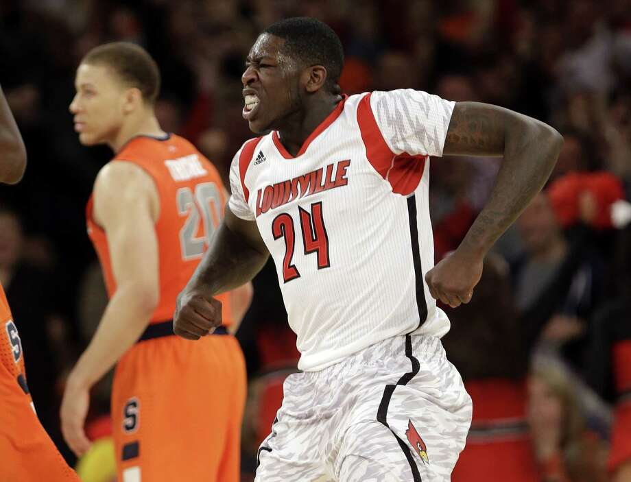 Louisville's Montrezl Harrell reacts after scoring in the Cardinals' Big East-clinching victory. Photo: Frank Franklin II / Associated Press