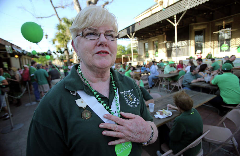 Mary Jo Quinn, 2013 Irishman of the Year, talks while attending festivities at Beethoven Hall as St. Patrick's Day is celebrated   on  March 16, 2013. Photo: Tom Reel, San Antonio Express-News
