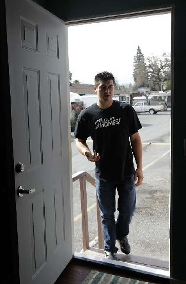 Saul Bracamontes arrives at his home at the Buena Vista trailer park in Palo Alto, Calif. on Thursday, March 14, 2013. The owners of the property have applied for permission from the city to close it, sell the land to a big developer and evict the residents of the 117 homes on the site.