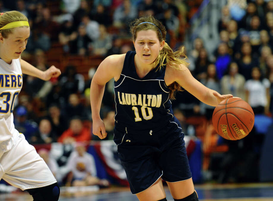 Class LL girls basketball final action between Lauralton Hall and Mercy at Mohegan Sun Arena in Uncasville, Conn. on Saturday March 16, 2013. Photo: Christian Abraham / Connecticut Post