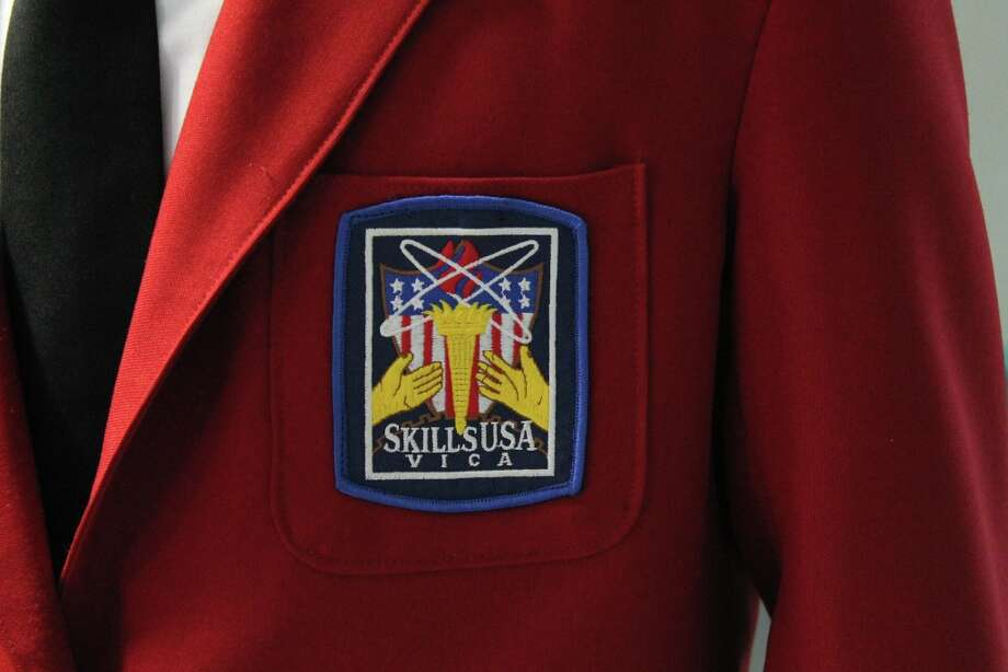 Proudly wearing Skills USA jacket. Photo by Lindsey Burns for New Visions: Journalism & Media Studies.