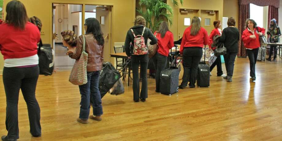 Cosmetology girls wait for opening ceremony. Photo by Lindsey Burns for New Visions: Journalism & Media Studies.