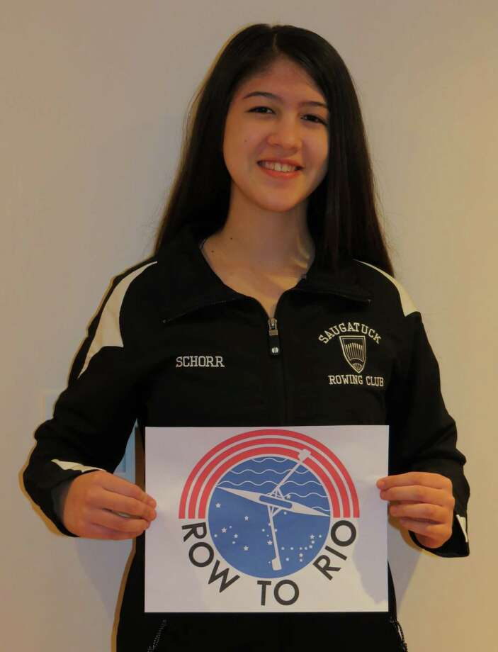 "Julia Schorr displays the logo she designed for US Rowing's ""Row to Rio"" contest. The winning logo --- to be picked by the public in online voting --- will be featured on websites, team and fan gear, banners, boats, press release and elsewhere. As of early this week, Schorr's design was in first place with a slim lead over Pennsylvania entrant. Photo: Contributed Photo / Westport News"