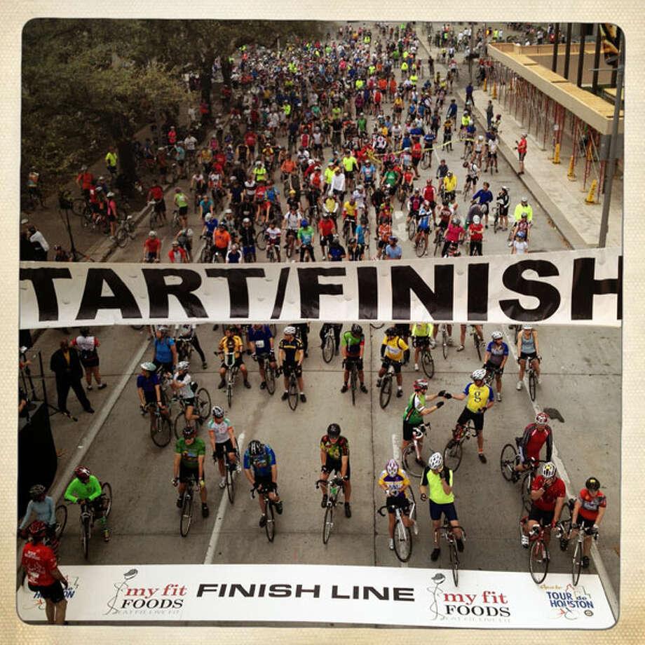 The riders were raising money for Houston reforestation. (Eric Kayne/Chronicle)