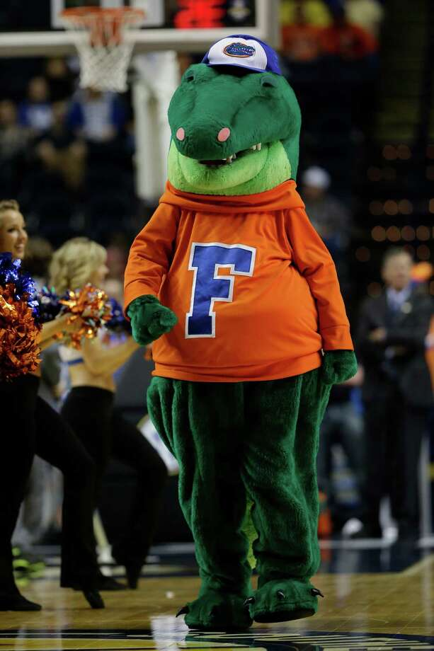 Florida  cheerleaders and mascot perform during the first half of an NCAA college basketball game against Alabama at the Southeastern Conference tournament, Saturday, March 16, 2013, in Nashville, Tenn.  (AP Photo/Dave Martin) Photo: Dave Martin, Associated Press / AP