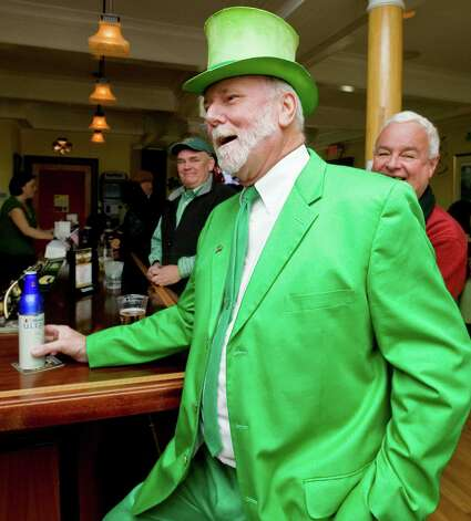 Bill Doran of Danbury wears an Irish suit to celebrate St. Patrick's Day at the Greater Danbury Irish Cultural Center. Sunday, Mar. 17, 2013 Photo: Scott Mullin