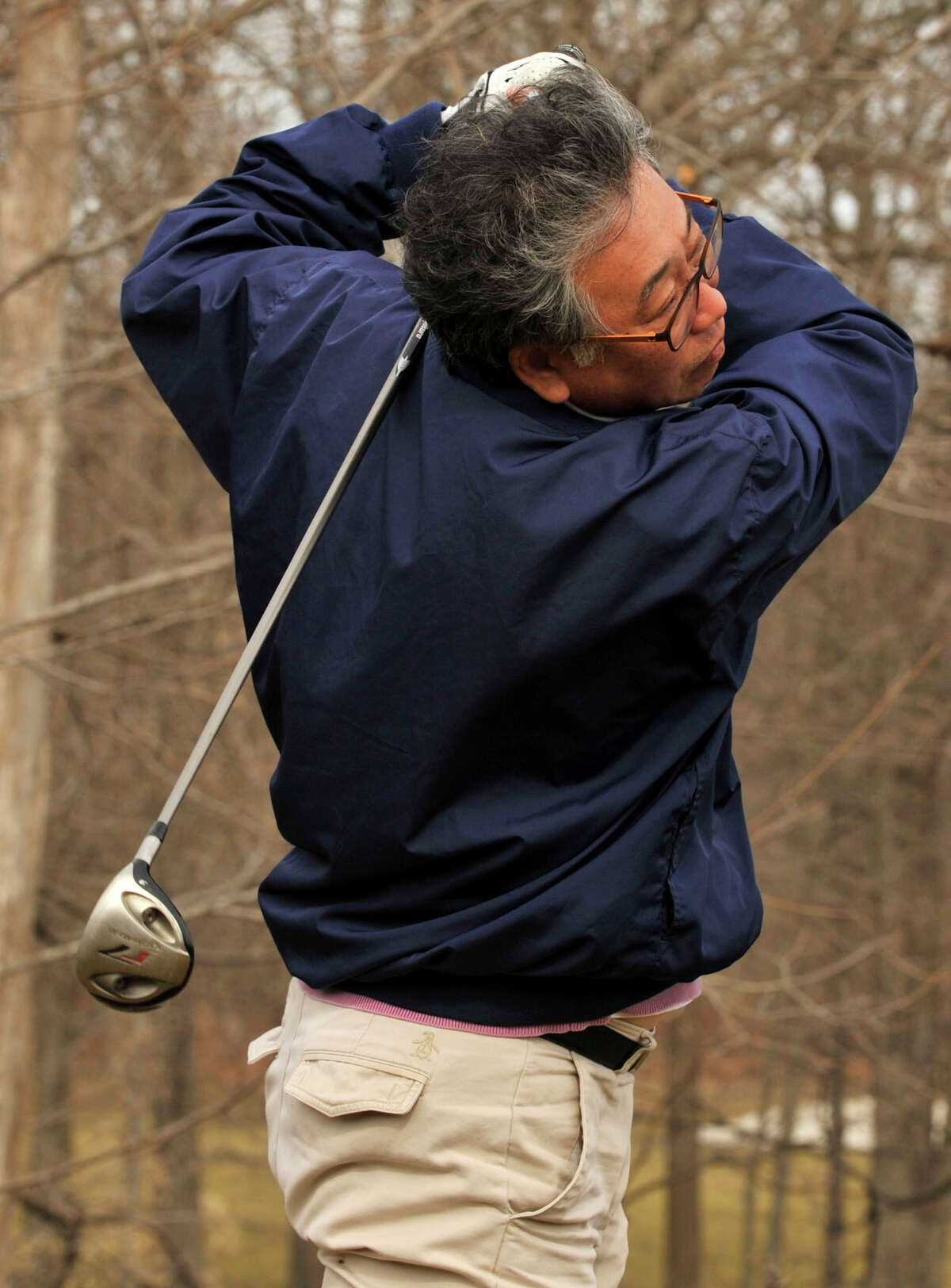 Young Kim tees off at the 11th hole at Sterling Farms Golf Club in Stamford on Monday, March 11, 2013.