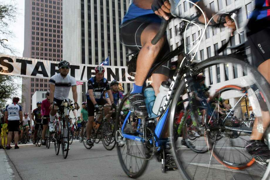 Participants ride at Tour de Houston, March 17, 2013 in Houston. Photo: Eric Kayne, For The Chronicle / © 2013 Eric Kayne