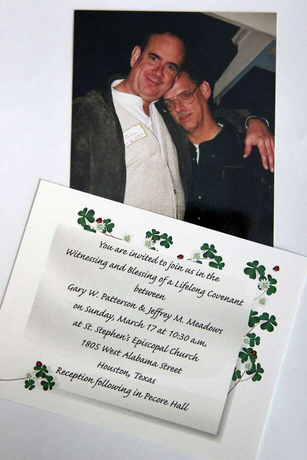 Gary Patterson and Jeff Meadows have a photograph of their first date 15 years ago, and they are now sending invitations for their 'Witnessing and Blessing of a Lifelong Covenant' at St. Stephen's Episcopal Church on Monday, March 11, 2013, in Houston.  Patterson and Meadows will be the first couple to participate in the Lifelong Commitment ceremony in Houston after the national church wrote the blessing in the summer of 2012. The Bishop of the Diocese of Texas granted St. Stephen's the opportunity to offer the blessing. Photo: Mayra Beltran, Houston Chronicle / © 2013 Houston Chronicle