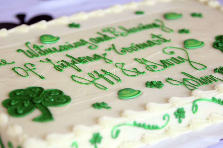 St. Patrick's Day themed cake in honor for partners Gary Patterson and Jeff Meadows at St. Stephen's Episcopal Church on Sunday, March 17, 2013, in Houston.  The Witness and Blessing of a Lifelong Covenant at St. Stephen's Episcopal Church is the first same-sex religious ceremony by the Episcopal Church in Houston. Photo: Mayra Beltran, Houston Chronicle / © 2013 Houston Chronicle