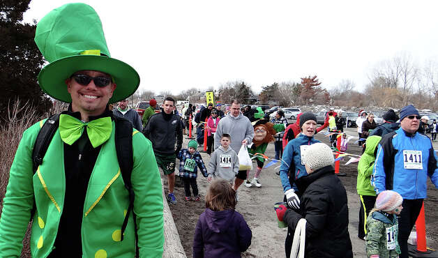 Mike Blackwell dressed the part for the Warren Street Social Club's St. Patrick's Day Classic Road Race at Jennings Beach on Sunday morning.  FAIRFIELD CITIZEN, CT 3/17/13 Photo: Mike Lauterborn / Fairfield Citizen contributed