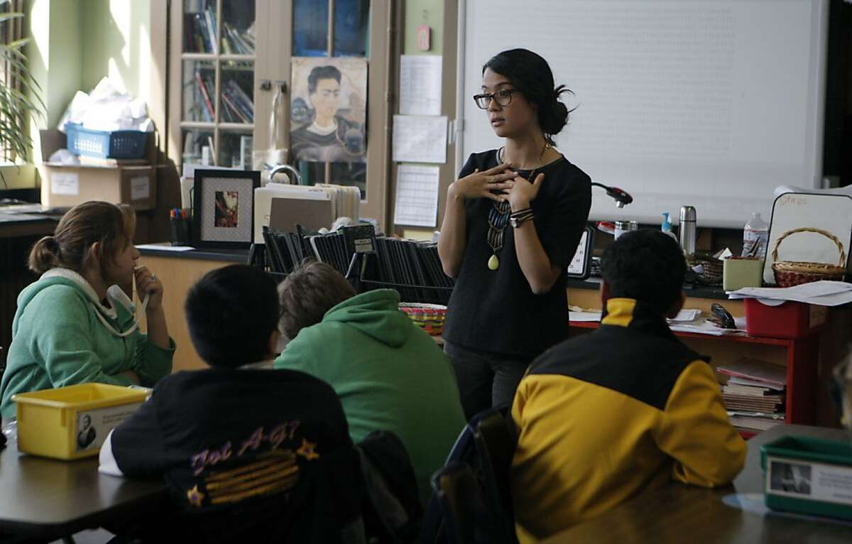 Monica Giudici teaches history to her students at Everett Middle School on March 14th, 2013 in San Francisco, Calif. Everett Middle School received School Improvement Grants to improve the school but that money runs out after this year.