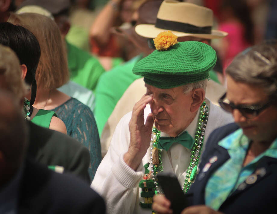"Gabriel ""Flap"" Pugliese wipes his eye during the playing of ""When Irish Eyes Are Smiling"" during a wreath laying ceremony Sunday, March 17, 2013, at the Alamo to honor the Irishmen who fought in the Battle of the Alamo. Photo: Robin Jerstad, For The San Antonio Express-News"
