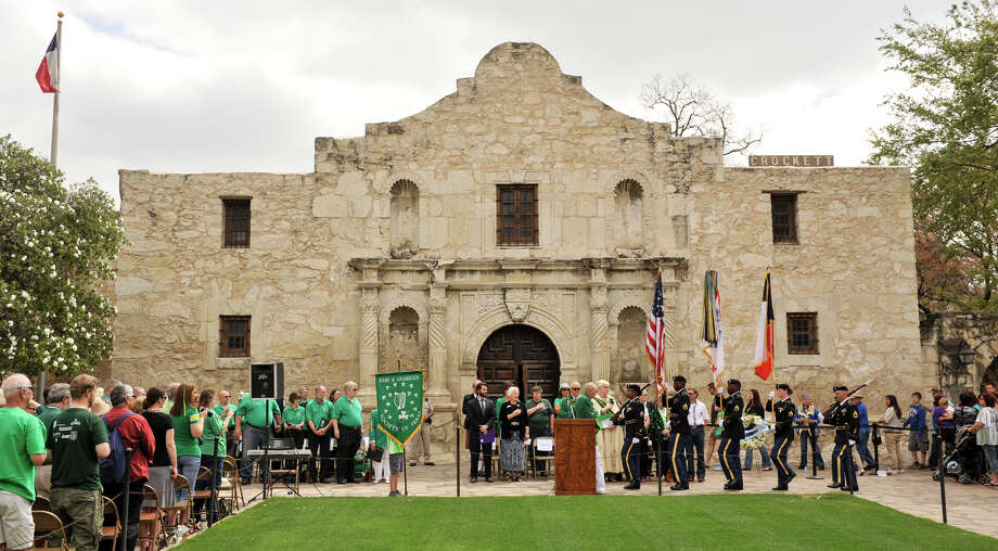 The colors are presented at the start of a ceremony Sunday, March 17, 2013, to honor the Irishmen who were killed at the Battle of the Alamo. Photo: Robin Jerstad, For The San Antonio Express-News