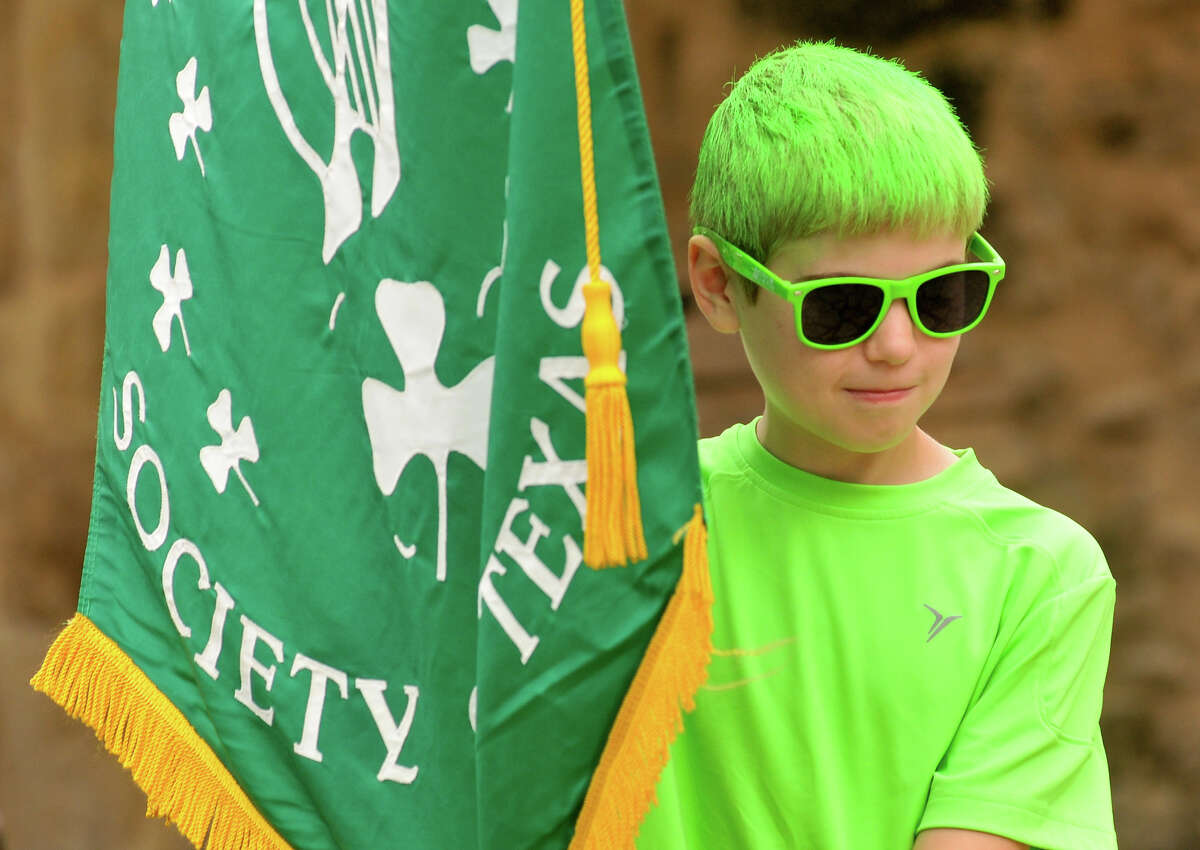 Sean Faught, 11, watches a ceremony Sunday that honors the Irish who died during the Battle of the Alamo Sunday, March 17, 2013, at Alamo Plaza.