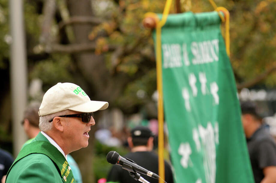Kevin Dowd, President of the Harp and Shamrock Society of Texas speaks during a ceremony Sunday, March 17, 2013, at the Alamo to honor the Irish who were killed in the famous battle. Photo: Robin Jerstad, For The San Antonio Express-News